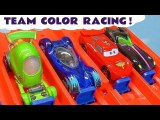 Hot Wheels and Disney Pixar Cars 3 Lightning McQueen Learn Colors Team Challenge Racing with DC Comics and Toy Story 4 Heroes Full Episode English