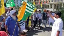 Sikh community  participate in protest against India