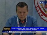 CAAP: Cebu Pacific has until 3pm to clear plane off Davao airport runway