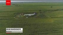 Russian plane crash lands in corn field after hitting a flock of birds