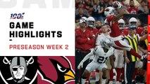 Raiders vs. Cardinals Preseason Week 2 Highlights _ NFL 2019