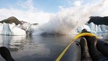 Eisbrocken von Gletscher stürzt ins Meer – Kajakfahrer erleben Überraschung
