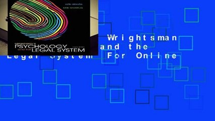 Full E-book  Wrightsman s Psychology and the Legal System  For Online