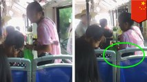 Old woman sits on a kid whodidn't give up his bus seat