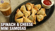 Spinach & Cheese Samosas | Quick and Easy Spinach & Cheese Corn Mini Samosas Recipe - Bhimika