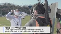 Spain legend Iniesta tries out blind soccer in Tokyo 2020 Paralympics promo