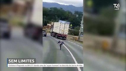 'Ciclista' é flagrado se arriscando entre carros na BR-277