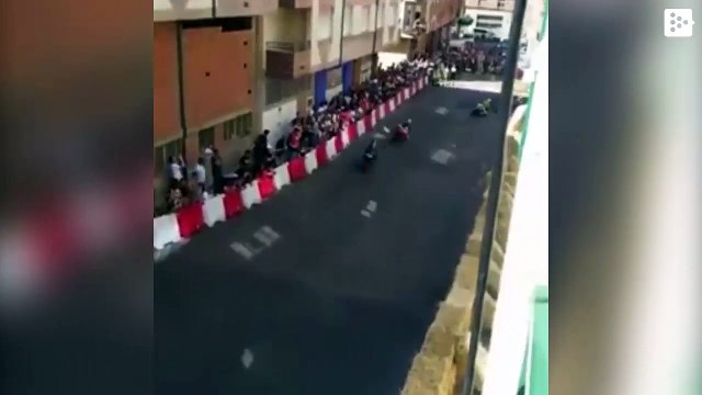 A pilot falls during a race in Spain and a companion hits him in the head