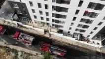 Ümraniye'de yanan apartman havadan görüntülendi