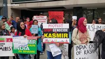 Hundreds gather outside United Nations headquarters in New York to protest India's intervention in Kashmir