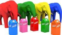 Aprende colores con elefantes de leche para niños - Colores con animales para niños Educación 3D