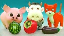 Aprende colores con frutas y verduras para niños - Colores con Animales para niños Educación 3D