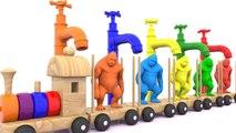 Animales para niños -kingkong en tren de madera - Aprende colores y frutas de animales