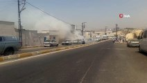 Hararet yapan otomobilden dumanlar yükseldi