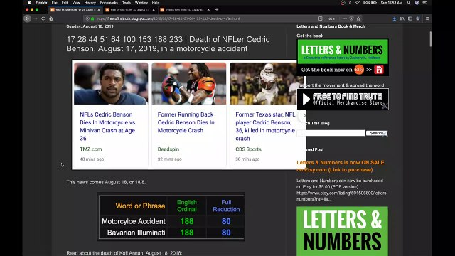 Cedric Benson's fatal motorcycle accident, August 17, 2019 & the start of football season