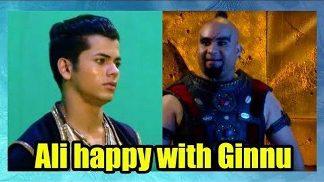 Ali happy with Ginnu in Aladdin