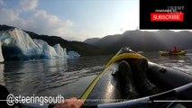 Deux kayakistes frôlent l'accident alors qu'ils filment l'effondrement d'un glacier