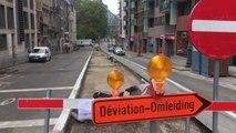 Bruxelles - Affaissement de voirie rue Belliard (vidéo Germani)