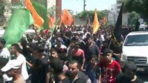 Funeral procession held for three Palestinians killed by Israeli shellfire in Gaza