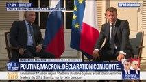 """Poutine à Brégançon: pour Emmanuel Macron, """"il est impérieux que le cessez-le-feu soit respecté à Idleb"""" en Syrie"""