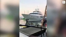 A luxury yacht collides against a pier causing panic in diners of a floating restaurant