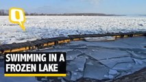 The Quint: Watch: A Frozen Lake Can't Stop This Man From Taking a Dip