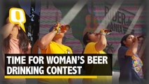 Woman Go Head-to-Head in Beer Drinking Contest