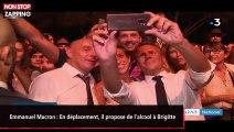 Emmanuel Macron : En déplacement, il propose de l'alcool à Brigitte (vidéo)