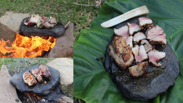 Primitive Technology: Grilled meat on the rocks -- Primitive Technology cooking