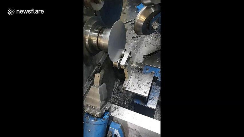 Metal spinning machine in UK satisfyingly crafts pie tin