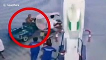 Motorist sprayed with fire extinguisher after he refused to stop smoking at petrol station in China
