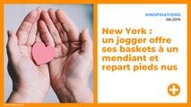 New York : un jogger offre ses baskets à un mendiant et repart pieds nus