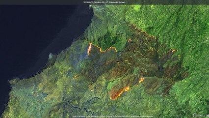 L'incendie dans l'île espagnole de Grande Canarie ralentit