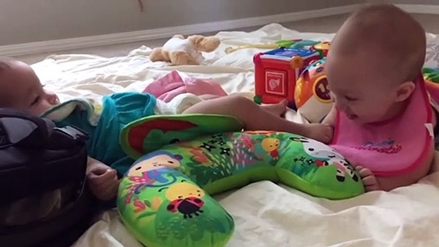 Cute Twins Baby Laughing and Playing Together - Funny Baby Videos