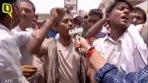 People protest outside a hospital during Bihar CM Nitish Kumar's visit