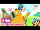 #ReadAlong - Animal Song | Old MacDonald & Row Row Row | Nursery Rhymes & Baby Songs | KinToons