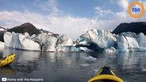 En pleine virée en kayak,  un glacier seffondre sous  leurs yeux en Alaska !