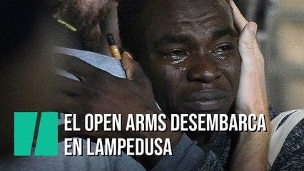 El Open Arms llega al puerto de Lampedusa