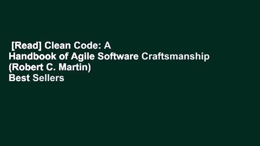 [Read] Clean Code: A Handbook of Agile Software Craftsmanship (Robert C. Martin)  Best Sellers