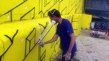 Villars-Fontaine : l'artiste Delta en plein travail au festival Street on the rock (2 sur 2)