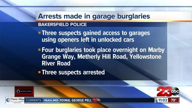Arrests made in string of garage burglaries