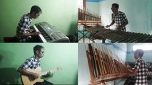 The musical instrument collaboration 'Angklung' with modern instruments in the song 'Prau Layar'