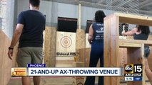 Sneak peek: Ax-throwing venue and bar prepares to open in downtown Phoenix