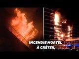 Les images de l'incendie d'un immeuble jouxtant l'hôpital Henri-Mondor de Créteil