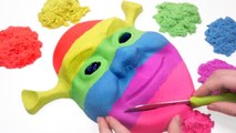 DIY How To Make Colors Kinetic Sand Shrek Mask Learn Colors Baby Doll Bath Time