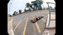 Guy Tries Skateboarding on Handrail and Falls on His Back
