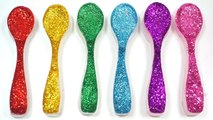 DIY How To Make Colors Glitter Clay Slime Spoon Kinetic Sand Modeling