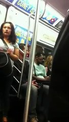Keanu Reeves gives his seat to a lady on the subway