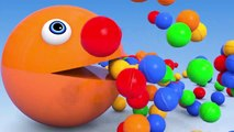 14.Learn Colors with Baby Monkey Soccer Ball as PACMAN Finger Family Song for Kid Children