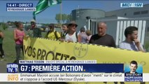 G7: Une première action de militants altermondialistes contre Monsanto  dans les Landes